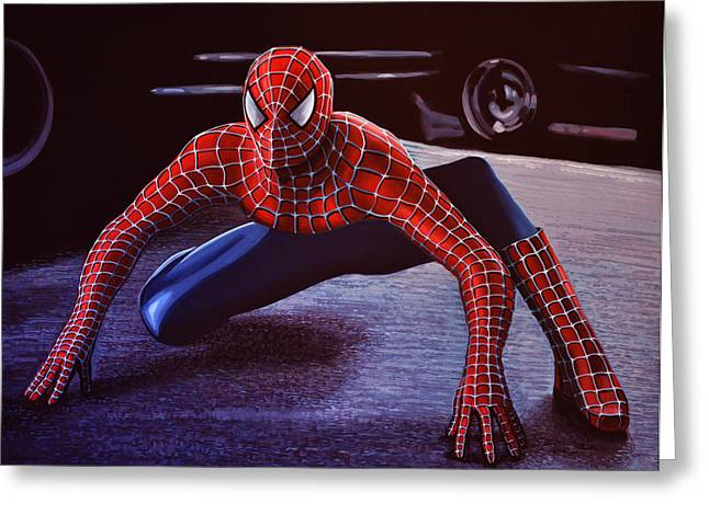 Character Portraits Paintings Greeting Cards - Spiderman 2 Greeting Card by Paul Meijering