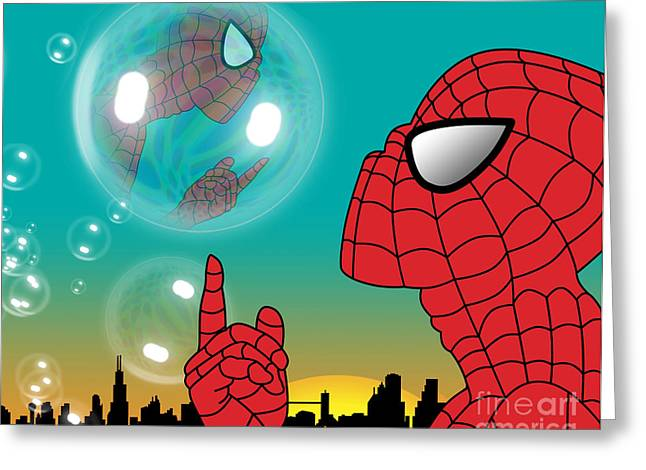 Funny Pop Culture Greeting Cards - Spiderman 4 Greeting Card by Mark Ashkenazi