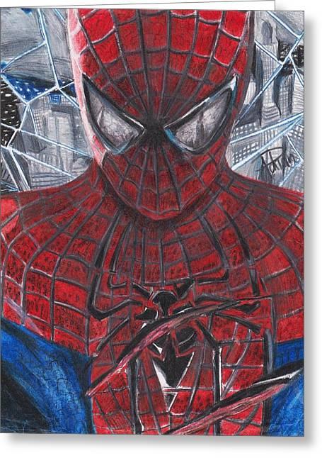 Superheroes Drawings Greeting Cards - Spiderman Greeting Card by Adrian  Casanova