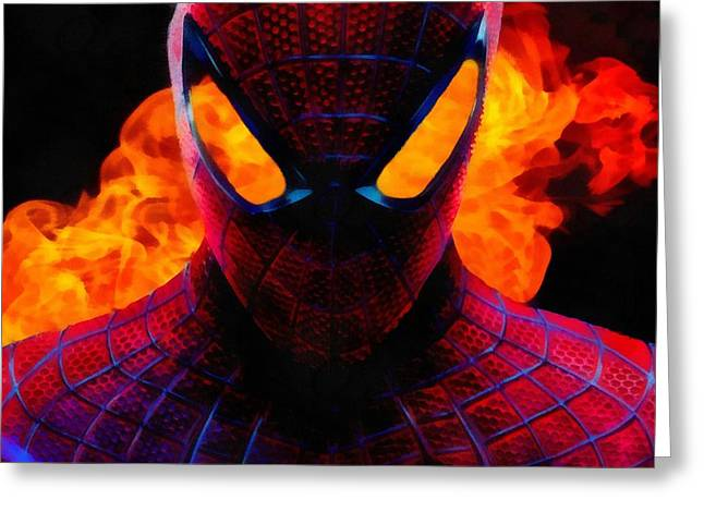Web Paintings Greeting Cards - Spiderman Explosion Greeting Card by Dan Sproul