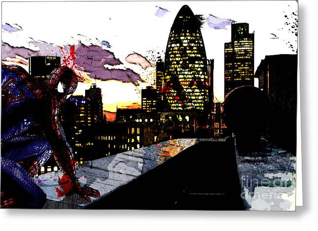 Spectacular Mixed Media Greeting Cards - Spiderman in London Greeting Card by The DigArtisT