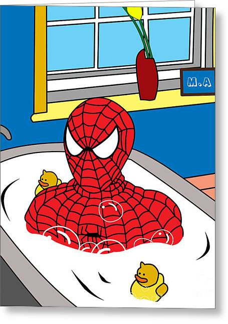 Caricatures Greeting Cards - Spiderman  Greeting Card by Mark Ashkenazi