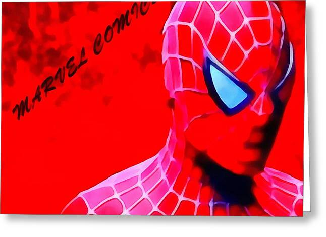 Marvel Mixed Media Greeting Cards - Spiderman Marvel Comics Greeting Card by Dan Sproul