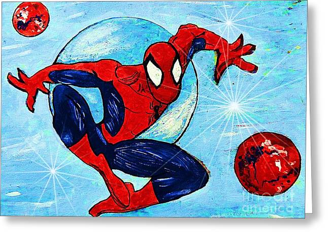 Crime Fighter Greeting Cards - Spiderman Out of the Blue 2 Greeting Card by Saundra Myles