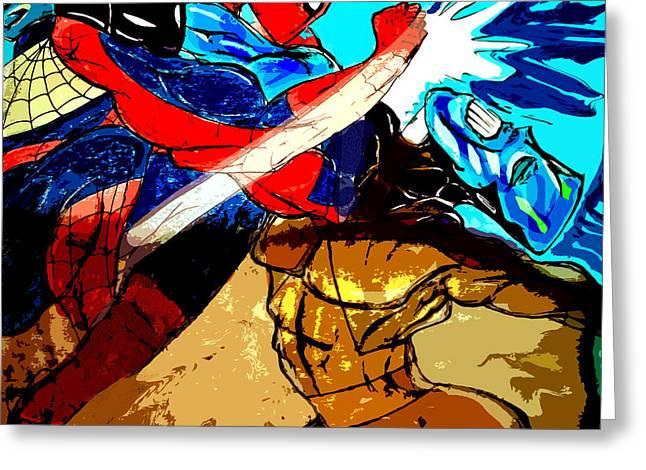 Superheroes Drawings Greeting Cards - SPIDERMAN vs JAR HEAD  Greeting Card by Jazzboy