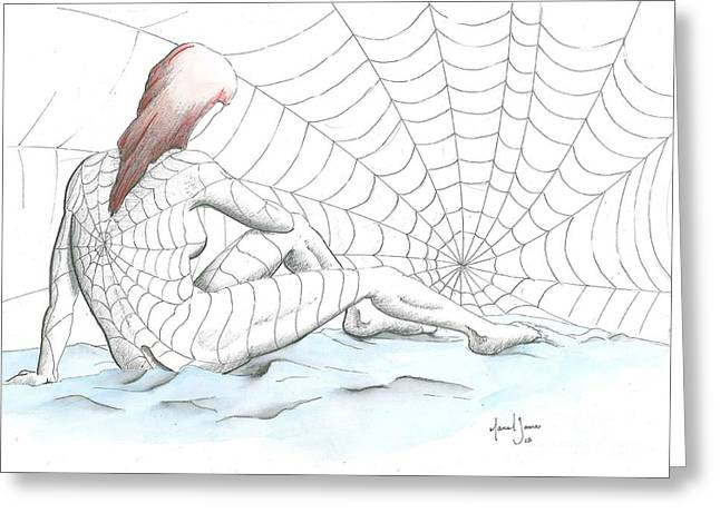 Black Widow Drawings Greeting Cards - Spiders Greeting Card by Grant Mansel-James