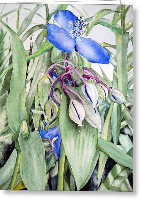 Spiderwort Triptych 2 Greeting Card by Joann Perry