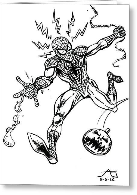 Spider-man Greeting Cards - Spidey Dodges a Pumpkin Bomb Greeting Card by John Ashton Golden