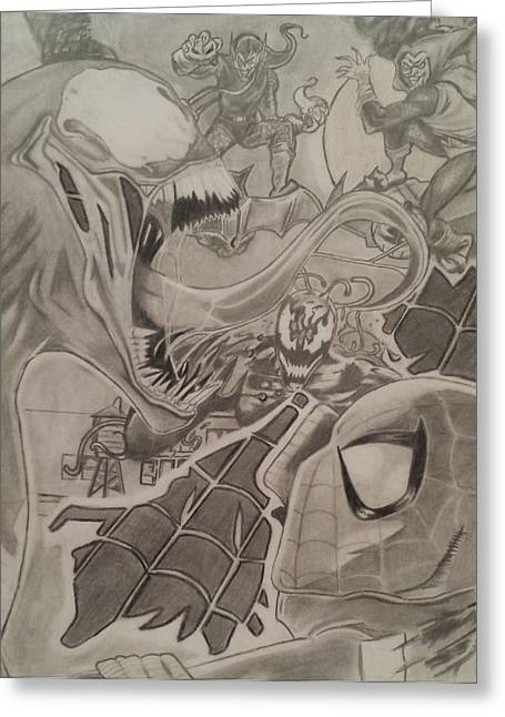 Superheroes Drawings Greeting Cards - Spidey Greeting Card by Jason Majiq Holmes