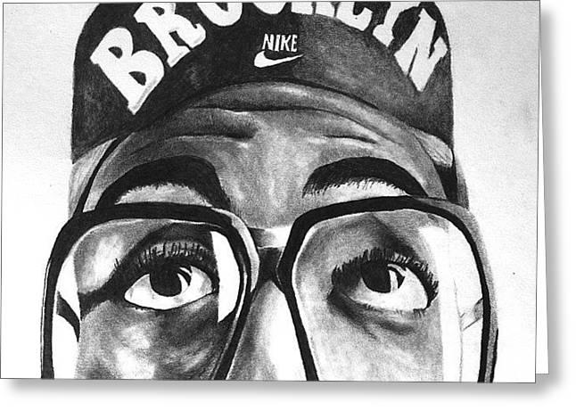 Nike Drawings Greeting Cards - Spike Lee aka Mars Blacmon Greeting Card by David Crane