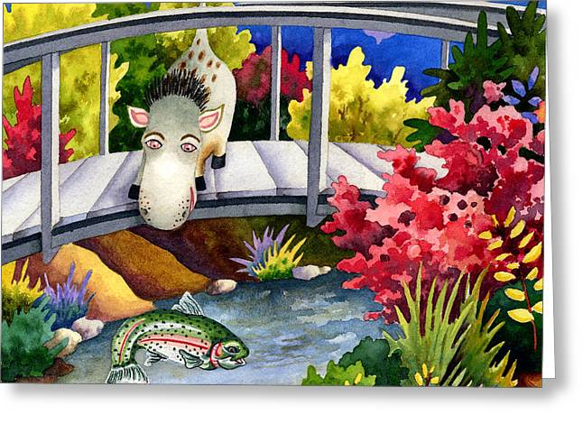 Art Book Greeting Cards - Spike the Dhog Watches a Jumping Trout Greeting Card by Anne Gifford