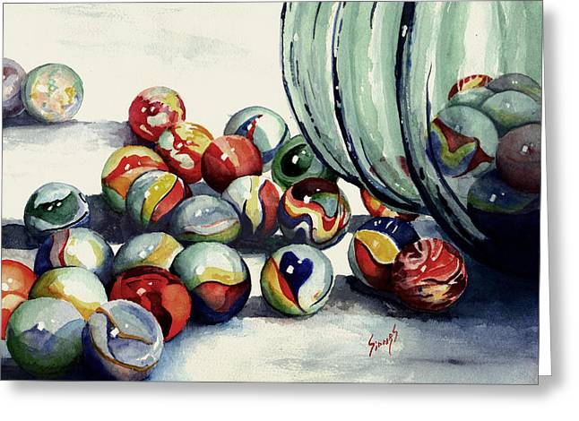 Spheres Paintings Greeting Cards - Spilled Marbles Greeting Card by Sam Sidders