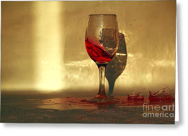Wine Pyrography Greeting Cards - Spilled Red Wine Greeting Card by Radivoj  Cvetojevic