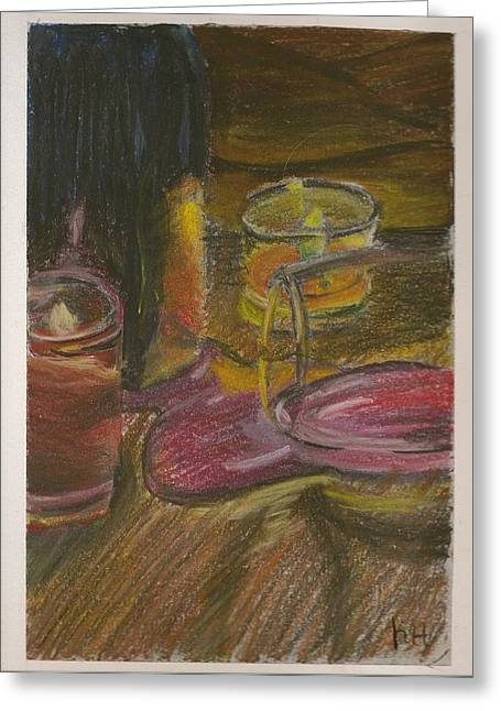 Wine-glass Pastels Greeting Cards - Spilled Wine Greeting Card by Krissy Haskell
