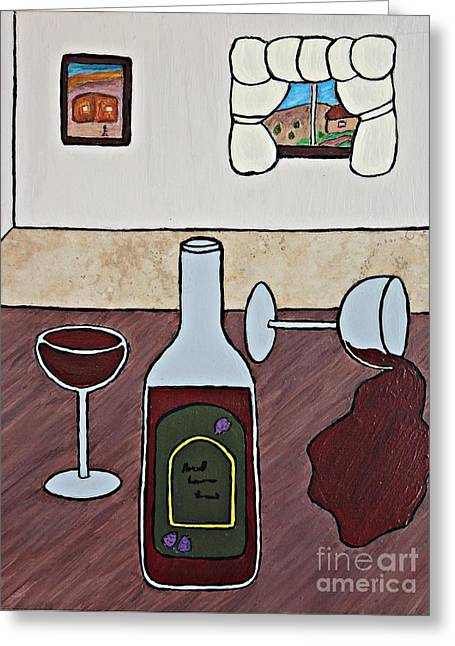 Wine-bottle Ceramics Greeting Cards - Essence of Home - Spilt Glass of Wine Greeting Card by Sheryl Young