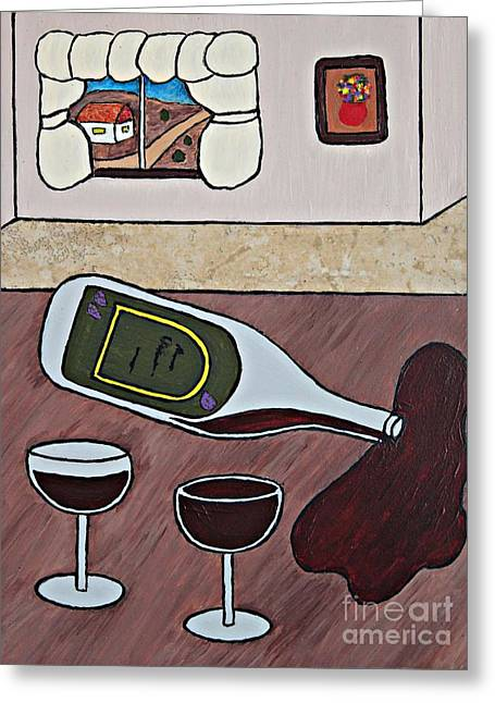 Wine-glass Ceramics Greeting Cards - Essence of Home - Spilt Wine Bottle Greeting Card by Sheryl Young
