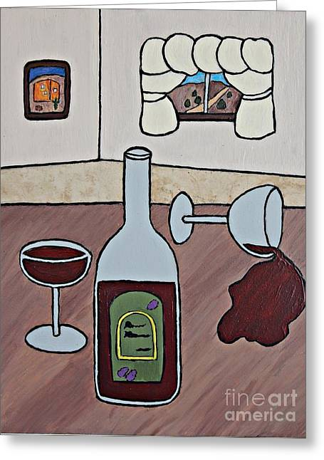 Wine-bottle Ceramics Greeting Cards - Essence of Home - Spilt Wine Greeting Card by Sheryl Young