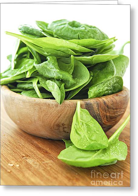 Produce Greeting Cards - Spinach Greeting Card by Elena Elisseeva