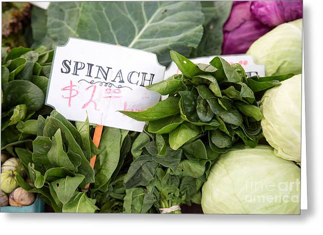 Spinach Green Greeting Cards - Spinach Greeting Card by Rebecca Cozart