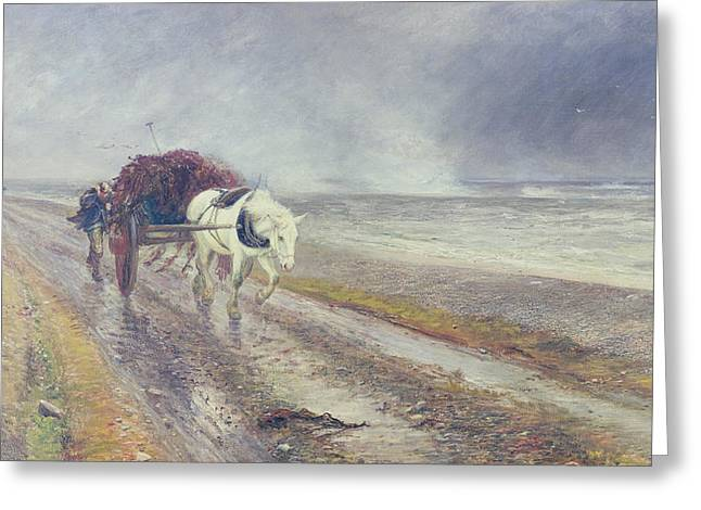 Horse Pulling Wagon Greeting Cards - Spindrift Greeting Card by John MacWhirter
