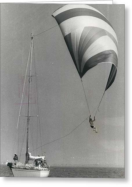 Spinnaker Flying At Cowes Greeting Card by Retro Images Archive