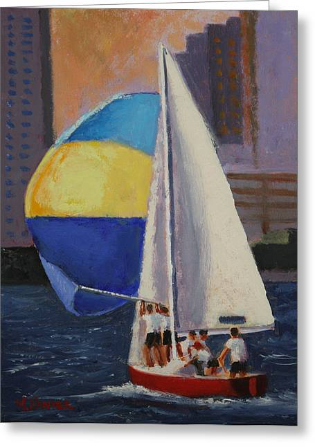 Sailboat Images Paintings Greeting Cards - Spinnaker Run Greeting Card by Mark Hunter