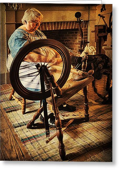 Rag Rug Greeting Cards - Spinnin Spinster Greeting Card by Priscilla Burgers