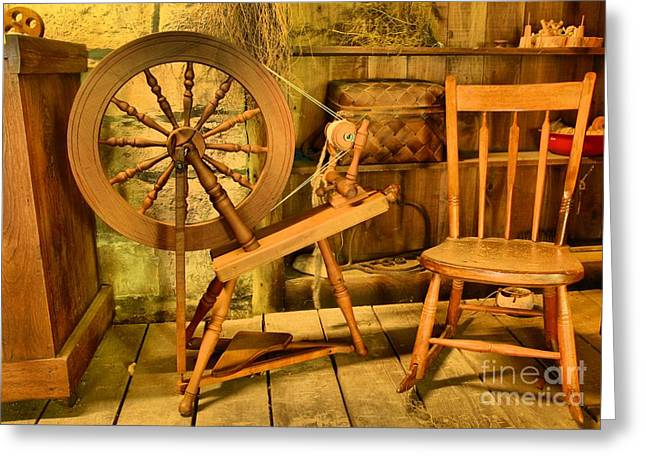 Spring Mill Greeting Cards - Spinning A Yarn Greeting Card by Adam Jewell