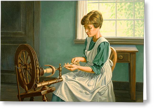 Wheels Paintings Greeting Cards - Spinning at the Homestead Greeting Card by Paul Krapf