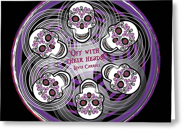 Celtic Art Greeting Cards - Spinning Celtic Skulls in Purple Greeting Card by Celtic Artist Angela Dawn MacKay