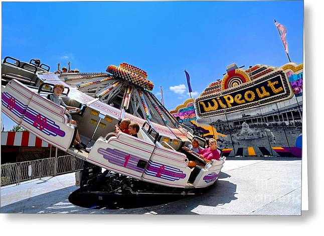 Kennywood Park Greeting Cards - Spinning on Wipeout Ride Kennywood Amusement Park Greeting Card by Amy Cicconi