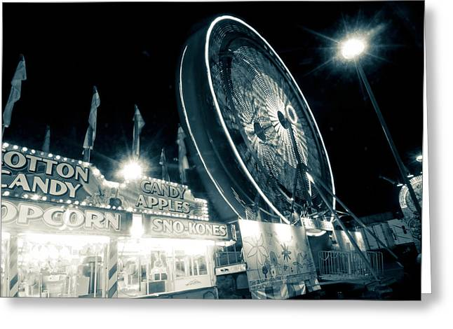 Ferris Wheel Night Photography Greeting Cards - Spinning Some Cotton Candy Greeting Card by Linda Unger