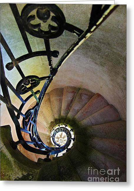 Geometric Photographs Greeting Cards - Spinning Stairway Greeting Card by Carlos Caetano