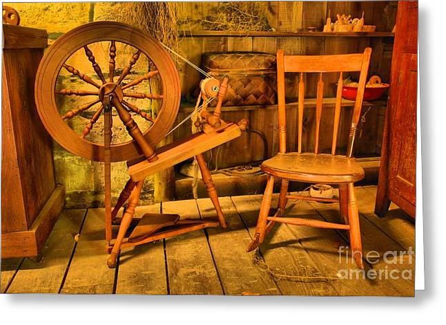 Spring Mill Greeting Cards - Spinning Wheel Greeting Card by Adam Jewell