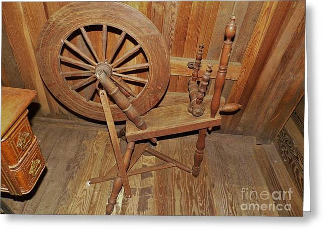 Textile Photographs Greeting Cards - Spinning Wheel Greeting Card by D Hackett