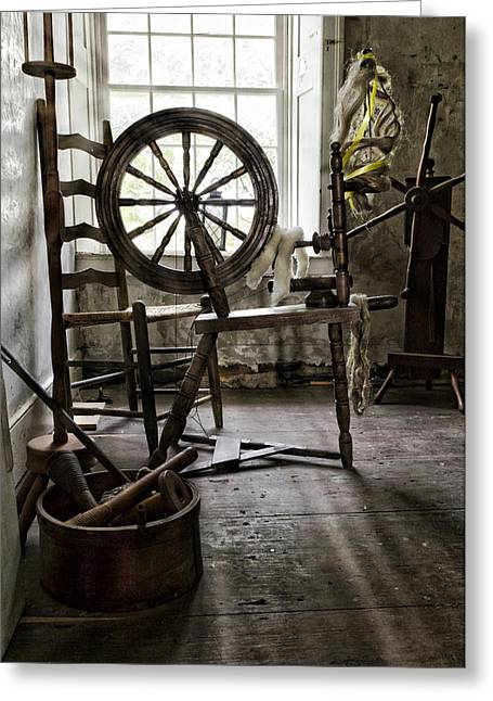 Knitting Greeting Cards - Spinning Wheel Greeting Card by Peter Chilelli