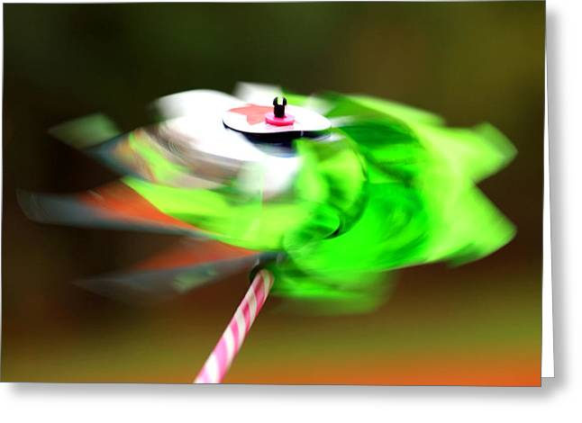 Blows Air Greeting Cards - Spinning Wind Toy Motion Blur Greeting Card by Fizzy Image