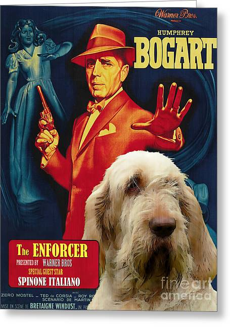 Enforcer Greeting Cards - Spinone Italiano - Italian Spinone Art Canvas Print - The Enforcer Movie Poster Greeting Card by Sandra Sij