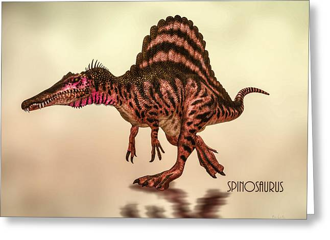 Spinosaurus Dinosaur Greeting Card by Bob Orsillo