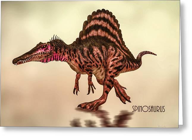 Dinosaur Greeting Cards - Spinosaurus Dinosaur Greeting Card by Bob Orsillo