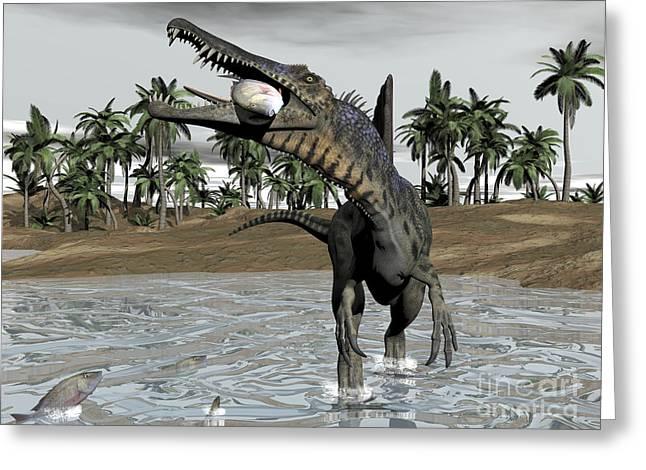 Death Of Waters Greeting Cards - Spinosaurus Dinosaur Walking In Water Greeting Card by Elena Duvernay