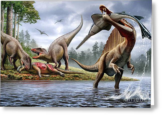 Carpenter Lake Greeting Cards - Spinosaurus Hunting An Onchopristis Greeting Card by Mohamad Haghani