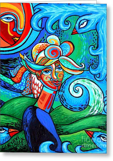 Spiral Bird Lady Greeting Card by Genevieve Esson