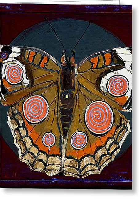 Cocoon Paintings Greeting Cards - Spiral Butterfly I Greeting Card by Shira Chai