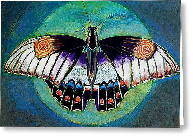 Cocoon Paintings Greeting Cards - Spiral Butterfly II Greeting Card by Shira Chai