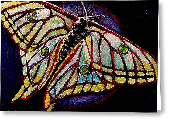 Cocoon Paintings Greeting Cards - Spiral Butterfly IX Greeting Card by Shira Chai