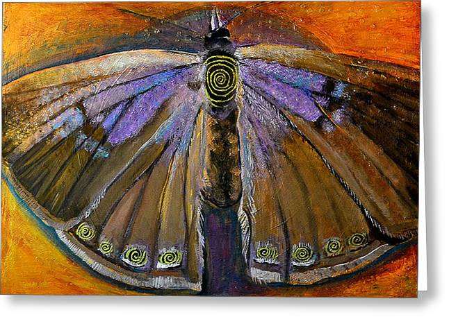 Cocoon Paintings Greeting Cards - Spiral Butterfly VIII Greeting Card by Shira Chai