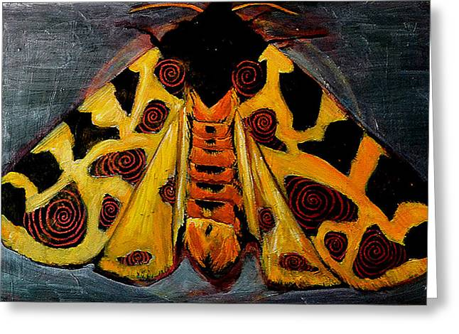 Cocoon Paintings Greeting Cards - Spiral Butterfly X Greeting Card by Shira Chai