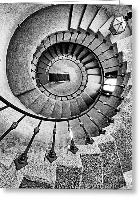 Calif Greeting Cards - Spiral Castle Stairs in BW Greeting Card by Paul W Faust -  Impressions of Light