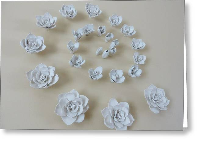 Flower Blossom Ceramics Greeting Cards - Spiral Flower Wall Backdrop - 28 inch diameter large Greeting Card by Lenka Kasprisin